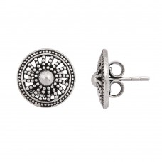 Traditional silver oxidized stud earring