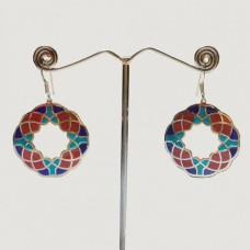 Hexagon Pattern Enamel Colorful Silver Designer Dangle Earring
