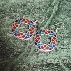 Hexagon Pattern Enamel Colorful Silver Designer Dangle Earring