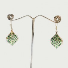 Green Enamel Leaf Pattern Design Silver Dangle Earring