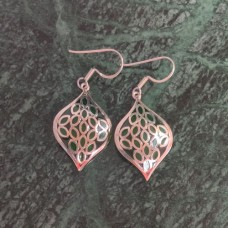 Green Enamel Leaf Pattern Design Silver Dangle Earring