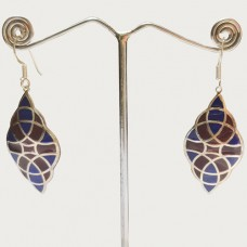 Marquise Design Colorful Pattern Enamel Silver Dangle Earring
