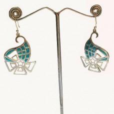 Flower Pattern Colorful Design Enamel Silver Dangle Earring
