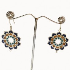 Beautiful Flower Pattern Enamel Design Silver Dangle Earring