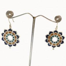 Beautiful Flower Pattern Enamel Design Silver Dangle Earring