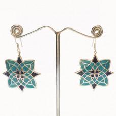 Butterfly Pattern Enamel Design Silver Dangle Earring