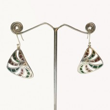Triangle Pattern Enamel Design Silver Dangle Earring