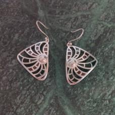 Triangle Pattern Enamel Design Silver Dangle Earring