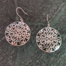 Beautiful Art Work Round Pattern Enamel Design Silver Dangle Earring