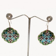 Hexagon Pattern Enamel Design Silver Dangle Earring