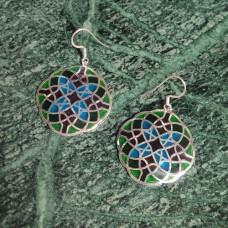 Hexagon Pattern Enamel Design Silver Dangle Earring