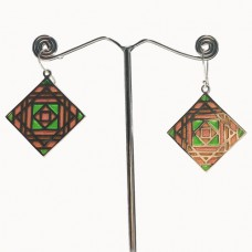 Square Pattern Enamel Design Silver Dangle Earring