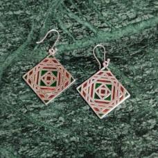 Square Pattern Enamel Design Silver Dangle Earring