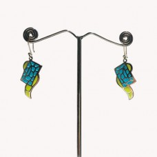 Unique Pattern Enamel Design Silver Dangle Earring