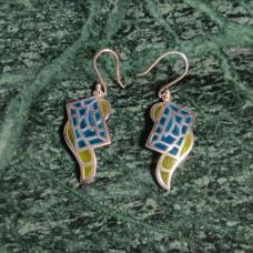 Unique Pattern Enamel Design Silver Dangle Earring
