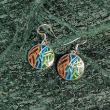 Round Pattern Enamel Design Silver Dangle Earring