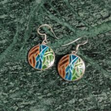 Round Pattern Enamel Design Silver Dangle Earring