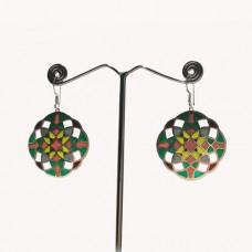 Amazing Design Pattern Enamel Silver Dangle Earring