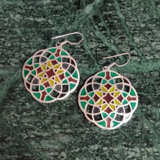 Amazing Design Pattern Enamel Silver Dangle Earring