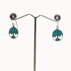 Tree Design Pattern Enamel Silver Dangle Earring