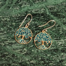 Tree Design Pattern Enamel Silver Dangle Earring