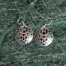 Circle Design Pattern Enamel Silver Dangle Earring