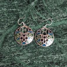 Circle Design Pattern Enamel Silver Dangle Earring