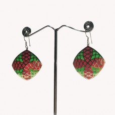 Cushion Design Pattern Enamel Silver Dangle Earring