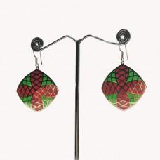 Cushion Design Pattern Enamel Silver Dangle Earring