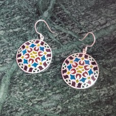 Colorful Enamel Art Round Pattern Silver Dangle Earring