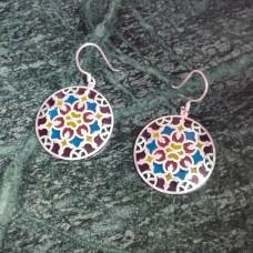 Colorful Enamel Art Round Pattern Silver Dangle Earring