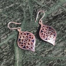 Blue Enamel Art Leaf Pattern Silver Dangle Earring