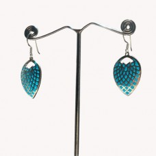 Sky Blue Enamel Art Leaf Pattern Designer Silver Dangle Earring