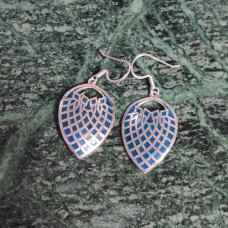 Sky Blue Enamel Art Leaf Pattern Designer Silver Dangle Earring