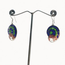 Snail Shape Enamel Art Pattern Designer Silver Dangle Earring