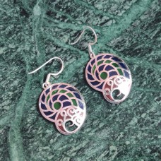 Snail Shape Enamel Art Pattern Designer Silver Dangle Earring