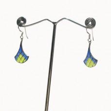 Pendulam Design Enamel Art Pattern Silver Dangle Earring