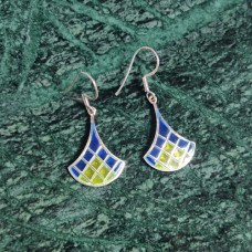 Pendulam Design Enamel Art Pattern Silver Dangle Earring