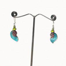 Wings Design Enamel Art Pattern Silver Dangle Earring