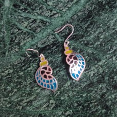 Wings Design Enamel Art Pattern Silver Dangle Earring