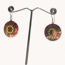Spider Trap Design Enamel Art Pattern Silver Dangle Earring