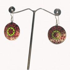 Spider Trap Design Enamel Art Pattern Silver Dangle Earring