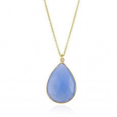Rainbow moonstone pear bezel necklace