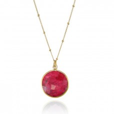 Ruby raw round bezel necklace