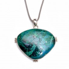 Natural chrysocolla silver pendant