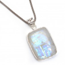 Rainbow moonstone rectangle cushion silver pendant
