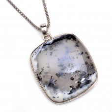 Dendritic opal cushion silver pendant