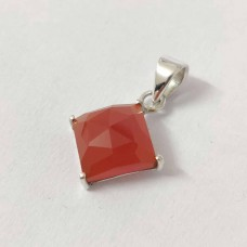 Carnelian Square Silver Prong Pendant