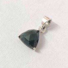 Raw Emerald Trillion Silver Prong Pendant