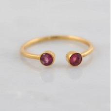 Pink tourmaline dainty adjustable silver ring